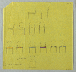 Twelve studies for chairs with round backs shown in elevation view. Some have colored seats.