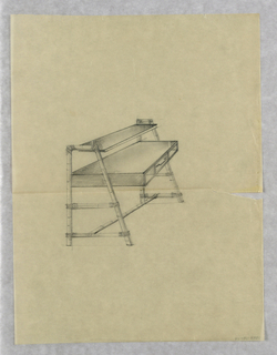 Design for desk with one drawer and one shelf in bamboo or wood structure.
