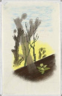 """Study for a """"Spring in the Countryside"""" poster for the London Transport. At center, large, bare, gray trees on a yellow background and blue sky. Below, an abstracted plant or flower against the brown ground."""