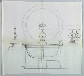 Design for chafing dish with smaller designs to the right.
