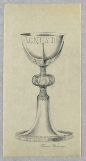 Chalice with wide base and eagle. Chalice inscribed: AGNES DE[...]
