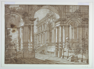 Horizontal rectangle. View on extensively colonnaded Renaissance palaces and gardens through an arch. Wall of arch includes variety of open niches, niche at left partly in ruins.