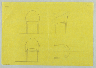 Four study of chairs, three in elevation view.