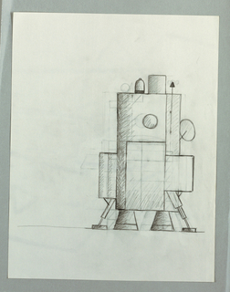 At lower right of sheet, robot-like form stands on two wire legs with pod-like feet and two cones between feet.  Upper section comprises a series of vertical and horizontal rectanges with an extending, circular arm or mirror at right; on top a bell-like form, a square, and an arrow pointing up.