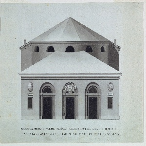 Design for a theater.  Elevation of the main facade of a portico with three arched doorways.  The central doorway is decorated with coats of arms (of the cardinal of the town).  The main body of the theater is visible behind the portico.  It includes a semi-circular space, directly behind the portico.  Inscription below the elevation.