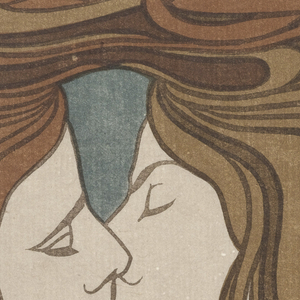Two almost identical faces are presented in a kiss. The profiles are surrounded by curvilinear locks of hair. The colors are predominately shades of brown and green. Overall, tones are muted.