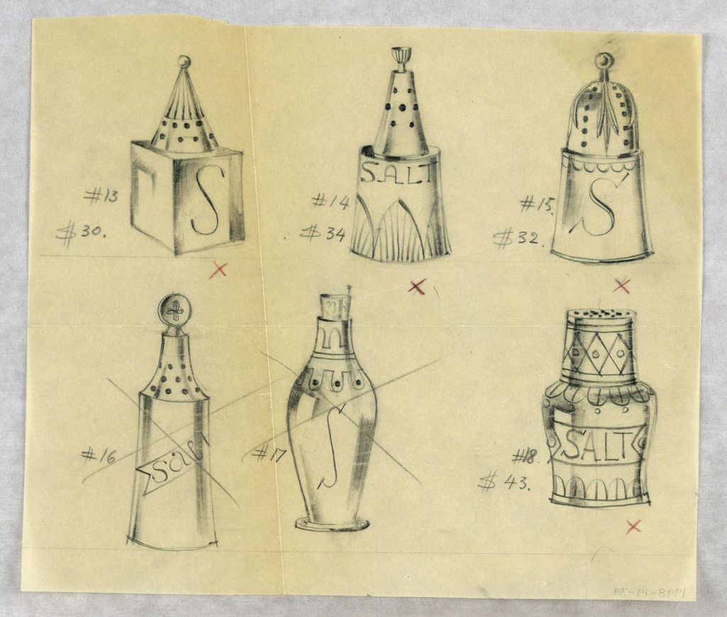 6 designs for salt shakers, two of which are crossed out.