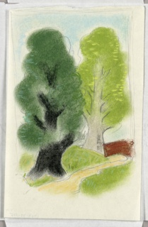"""Study for the """"Wooded Landscape Scene"""" Poster. Two large trees with bright green fluffy leaves; a wooden fence at right. Rough pencil framing lines on three sides."""