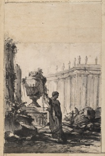 Ruins of a temple shown against a curved colonnade visible in the distance. A broken statue of a woman in the foreground leans against the base of a sepulchral monument surmounted by an urn. Three male figures, one seated on a broken column, are visible in the distance among the ruins.