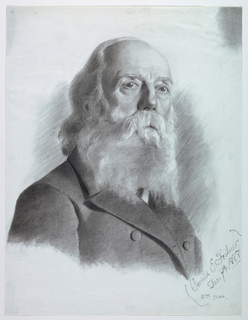 """Vertical rectangle. Bust-length portrait of an elderly, bearded man, shown in three-quarters view, facing right. Signed in charcoal, lower right: """"Coralie E. Feilner/Dec. 7th 1888."""""""