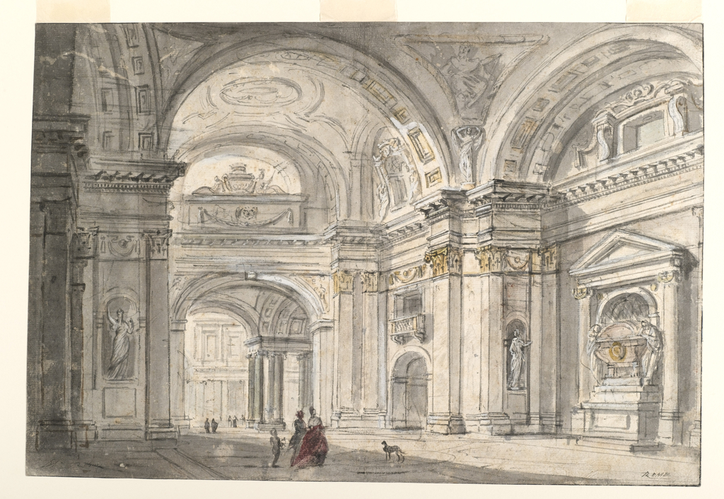 Depiction of a church interior.  The view shown from an oblique angle, depicts a vast, vaulted hall that leads into another, colonnaded hall.  A sepulchral monument is positioned above the arched opening (at the transition to the next hall).  Numerous sculptures and monuments are positioned in wall niches in the main hall. Three small figures and a dog are standing at center.  Additional groups of people are visible in the distance.