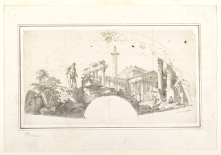 Drawing, Design for a Fan: Capriccio with Roman Ruins and the Farnese Hercules, ca. 1750
