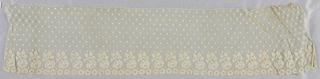 Bobbin lace border, blossom repeat; early 19th century Maline.