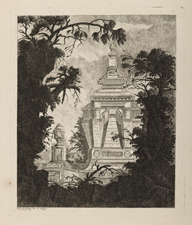 Print, Tombeau monumental avec urne funéraire au premier plan (Monumental Tomb with Urn in the Foreground)