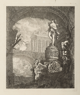 Print, Femme dressée sur un piédestal orné de bas-reliefs (Woman Standing on a Pedestal Decorated with Bas-Reliefs)