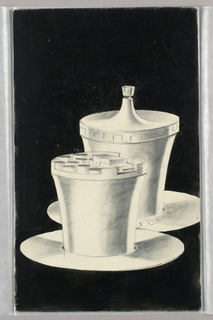 Slightly flared cigarette cup and lighter, each on attached shallow, undecorated dish, the former in front of and partially obscuring the latter; cigarettes suggested in holder; Greek key decorative motif on rim of lighter and on attached plate, center.