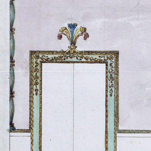 """At left, a door frame with a feathered overdoor crest. The decoration of the wall consists of a dado labelled """"Zoccolo"""", and of a rose colored wall. Below the entablature is green cloth knotted and hung with beaded festoons. At center a feathered crest. Scale below."""