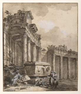 A ruined colonnade curves from left foreground to lower right. At the center of the composition a sarcophagus decorated with a cow skull serves as a resting place for a group of travelers. At lower right, an additional group of figures has been added with light pen strokes.