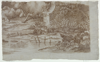 """Print, Trial Proof for Cotton Printing: """"Pastoral Scene with Peacocks and Poultry"""", after 1761"""