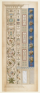 Several vertical designs in mouldings. On the left, green rinceaux in curls, with squirrels and cameo-style elements; other designs include: winged putti, standing soldier, lion head, intertwined griffins, a ribbon with Greek key pattern, groups of fruit attached to a red pole. Scale below.
