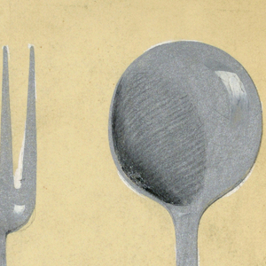 Design for silver knife, fork, and spoon.