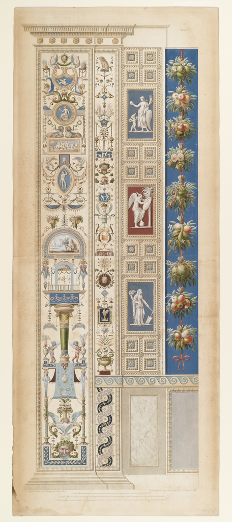 Vertical designs for mouldings including: cameo elements, birds, lions, griffins, masks, lion heads, lunette with landscape, putti, caryatids, intertwined ribbons. Scale below.