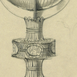 Presentation design for silver chalice with large disk-shaped base; four crescent shapes support cup; engraved Tree of Life in planter, center of stem; animal symbols for four Evangelists in disk, between cup and base; Latin text in band below cup rim: IN CHRISTO MOR....