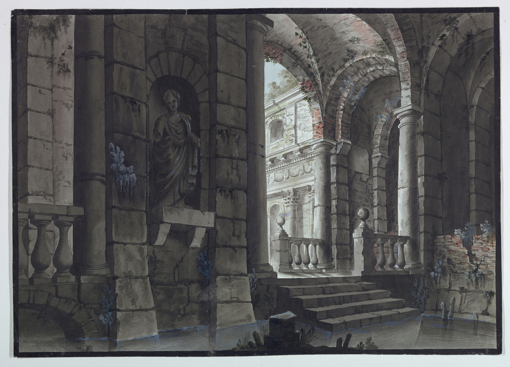 Horizontal rectangle. Interior of antique ruins partly flooded with water, statue in niche on wall, outlook into an outdoor hall in background.