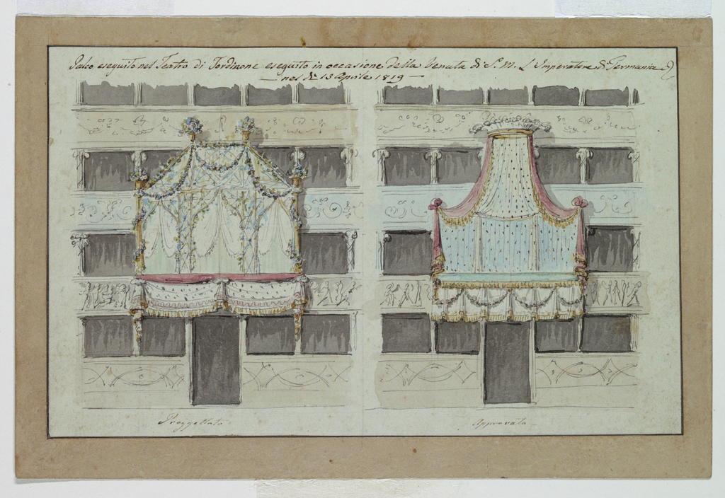 Drawing, Two Designs for Decoration of Boxes, Tor di Nona Theater, Rome, 1819
