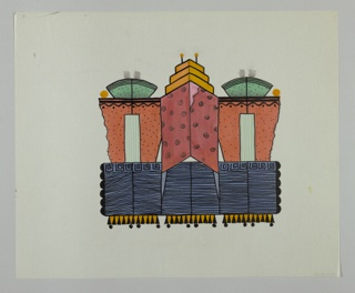 Three panel screen on wheels in form of three abstract, colorful, highly decorative skyscraper buildings in middle with red top decorated with spirals. Blue and black striped lower half and yellow stepped pediment with two antenae. On either side, tructures with orange and black dots on upper half and blue and black striped lower half edged with Greek key pattern on top. Each has green fasn shaped pediment. Bases of three buildings yellow and black triangles.