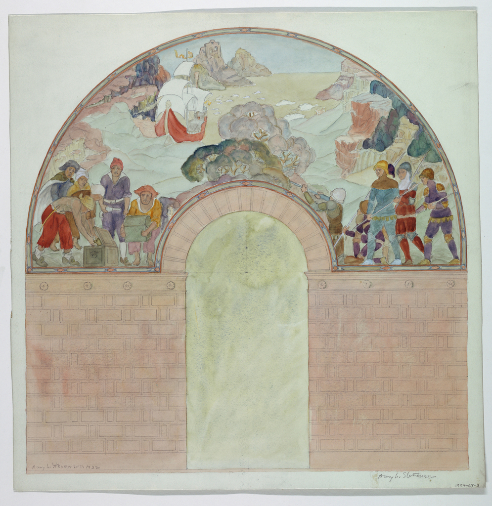 Entrance to a vault of cut stone with an arched entrance. Above, a mural showing a galleon near a rocky coast, with pirates inspecting treasure at left and a group of soldiers at right. Verso: Attached typescript criticism by Ernest C. Peixotto.