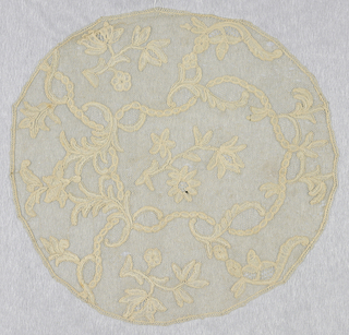 Bobbin lace circle (possibly coif), floral forms; early 18th century Brussels