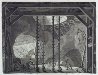 Horizontal rectangle. Inside cave, workmen are constructing stairs and buildings. Various kinds of tools, pulleys, and installations seen in foreground, stairs leading up at left. Two pairs of male figures at left and right.