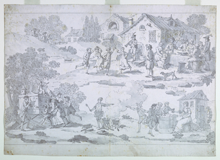 The scenes show children taking part in county entertainments: at the top, a group dance to a piper, while adults partake of refreshments at a table nearby. Below, to the left children and adults view a peep-show; at center a chestnut vendor; and at right youths play a clock-game, attended by a woman near a small mill.
