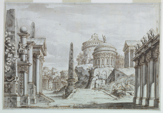 Horizontal rectangle. View of a forum in ruins.  Ruins and antique buildings at the sides and in the background (rectangular and round temples).  An obelisk in the middle and an equestrian monument at left.