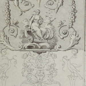 Vertical rectangle. Within vertically-arranged ornamental arabesques are: upper left, Juno seated in a chariot drawn over the clouds by peacocks, while kneeling zephyrs facing each other (personifying Air) support the vignette; lower left, Vulcan forging armor, and supporting, while two cyclopes (personifying fire) support the vignette; upper right, sirens supporting the vignette with Venus (below); center right, Saturn seated in a landscape, attended by animals, his right arm resting on a globe, while two standing Herculeses (personifying Earth) support the vignette; lower right, Venus born over water on a shell, accompanied by two tortoises (personifying water). In the center of the composition and along the left edge are vertical strips composed of trophies symbolizing the elements (uncompleted).