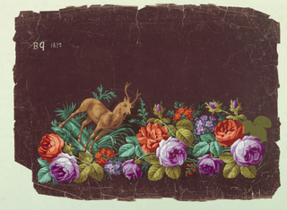 Border design on maroon background: medium size purple, lilac, red, and orange flowers with brown deer tipped diagonally in left corner.