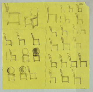 Drawing of 31 chairs with a round back, mostl in side elevation view, on a yellow ground.