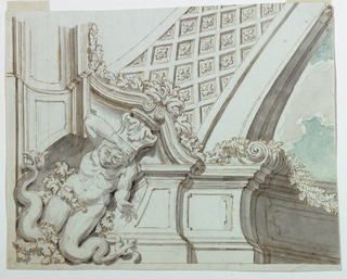 A coffered arch rises obliquely from a parapet. A kneeling merman supports a bracket under a pediment in the corner. Clouded sky at right.