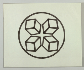 Circle, outlined in black, enclosing four boxes drawn in perspective facing away from each other. Negative area at center forms a four pointed, vertically oriented star.