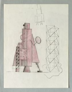 At left, a tall structure, possibly a design for furniture or a sculpture, in robot form. The vertical central element has a right arm in the form of an extension mirror. The lower half of the structure rests on a tall scaffold, a cone form, and a pod-like leg. To the right is an outline drawing of a scaffold, and above this, a sketch of a three-part form on wire legs.