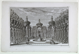 Stage design with a fountain surmounted by figure of Neptune as centerpiece.  On left and right are ornamented colonnades with statues, trees, and urns.  Beyond colonnade in background is elaborate villa/palace.  Male (left) and female (right) figures occupy the foreground in front of the fountain.