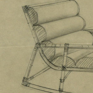 Design for short chaise with wooden or bamboo structure, banded joints.