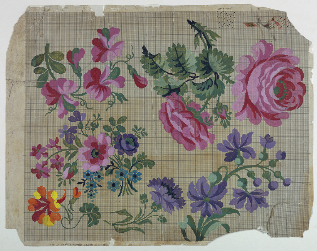 Top row: two sprays, the right one showing two roses and a rosebud. Center left: a bunch of flowers. Bottom row: three sprays. Top right, in opposite direction: three schemes