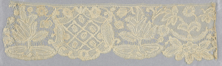 Bobbin lace border, shield and plants in repeat; early 18th century, Brabant