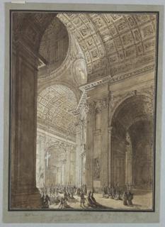 Drawing, Interior of St. Peter's Illuminated, 1776–84
