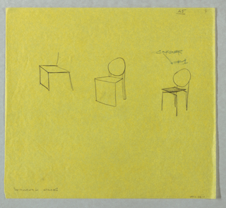 Three sketches of chairs.