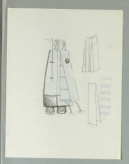 Robot-like vertical structure, composed of tall, triangulalr forms, stands on two pod-like feet in front and two cone forms behind.  Figure appears to hold flag and wears two pyramid forms on top.  To the right, two details of structure viewed from the side.