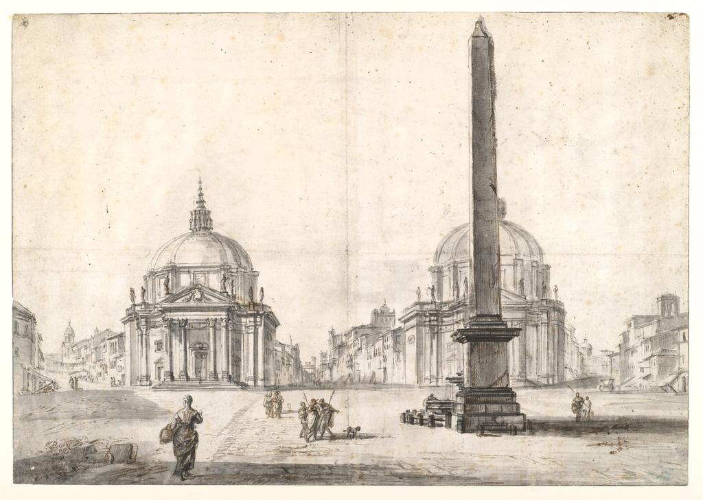 Drawing, Piazza del Popolo, Rome