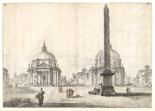 View across the Piazza del Popolo of the twin churches of S. Maria in Montesanto on the left, and S. Maria dei Miracoli on the right, behind the Obelisk of Ramses II.
